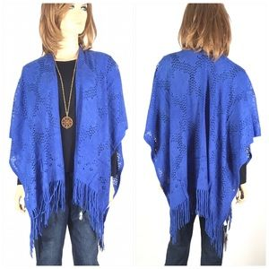 Blue Crochet Shawl Cover Up Jacket Sweater OSFM